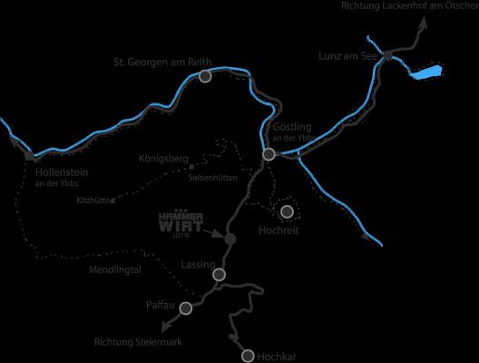 Anfahrtsplan Hammerwirt/Göstling